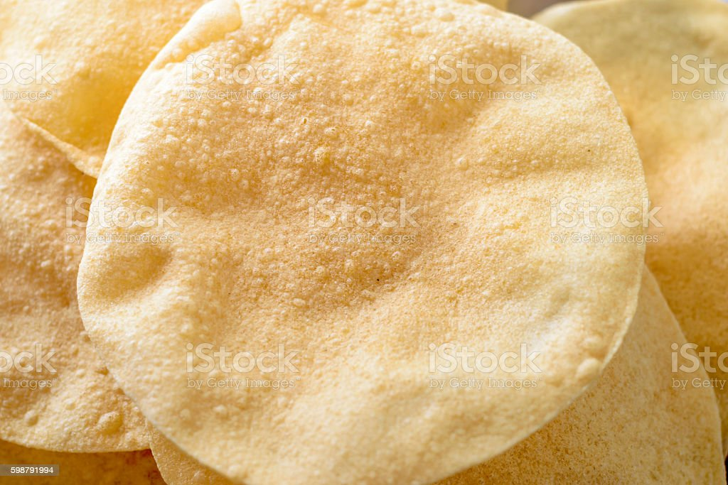 Papadom (fried South Indian crackers) stock photo