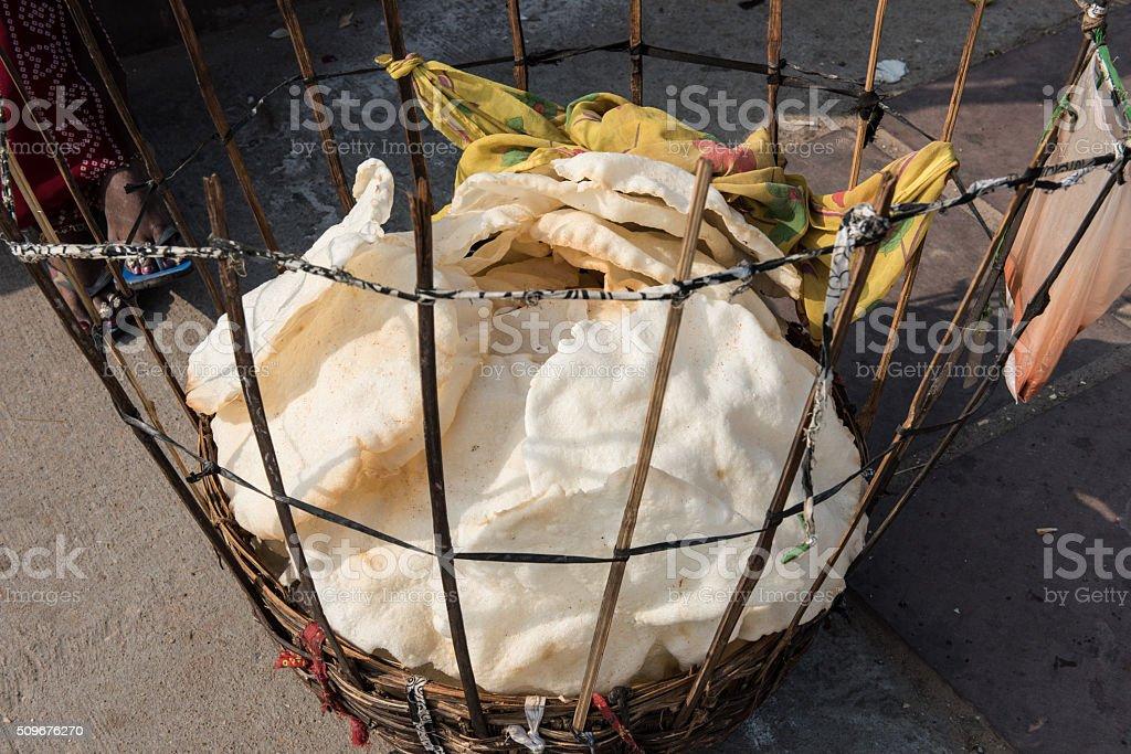 Papadums in Basket stock photo