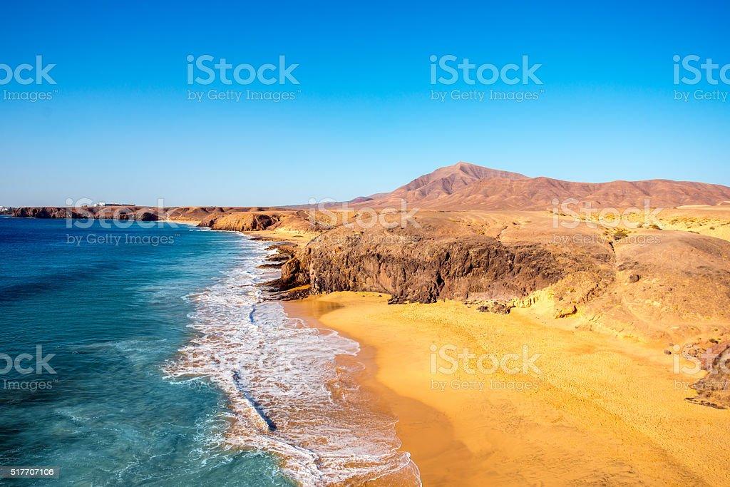 Papagayo beach on Lanzarote island stock photo