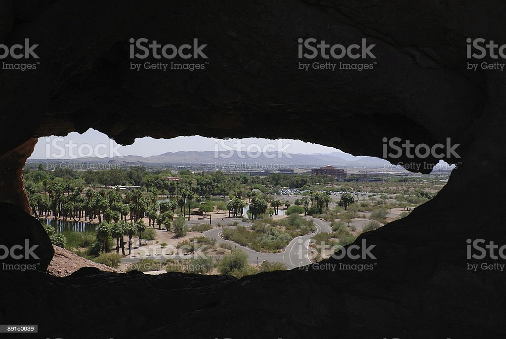 Papago Park Rock Window stock photo