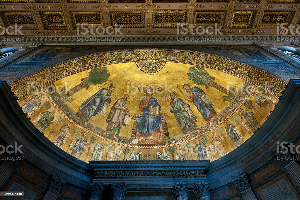 Papal Basilica of St Paul Outside the Walls (Rome, Italy) stock photo