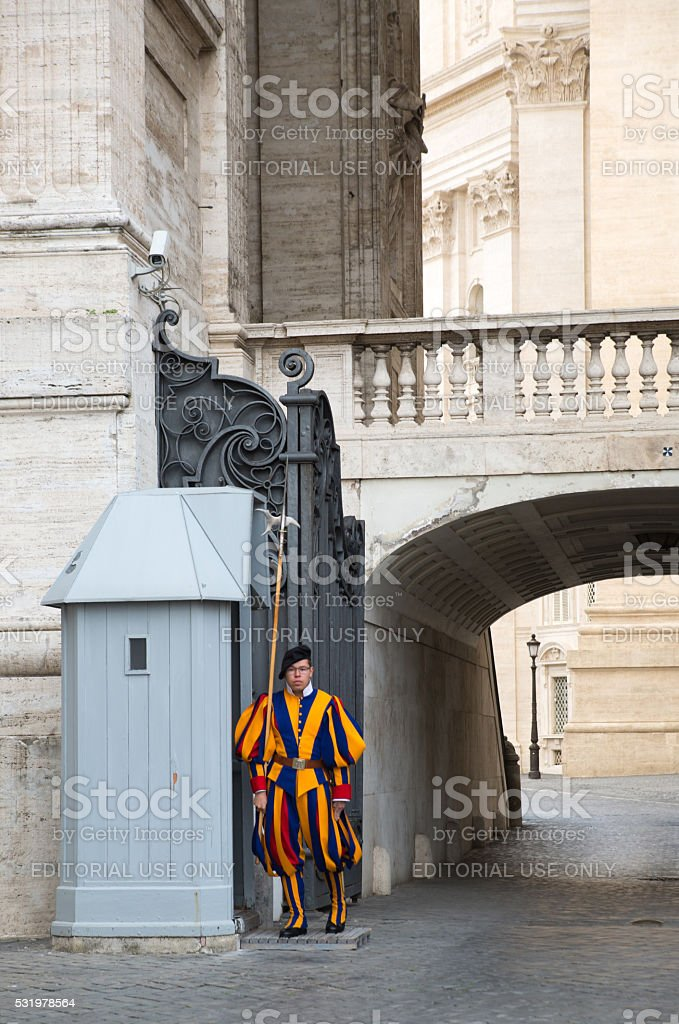 Papal Swiss Guard in uniform. stock photo