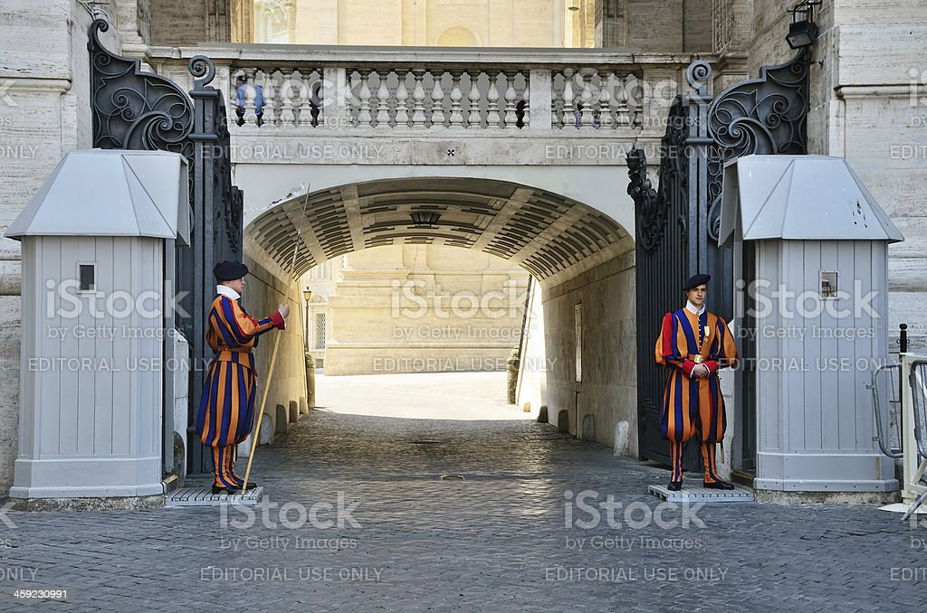 Papal Swiss guards, Vatican royalty-free stock photo