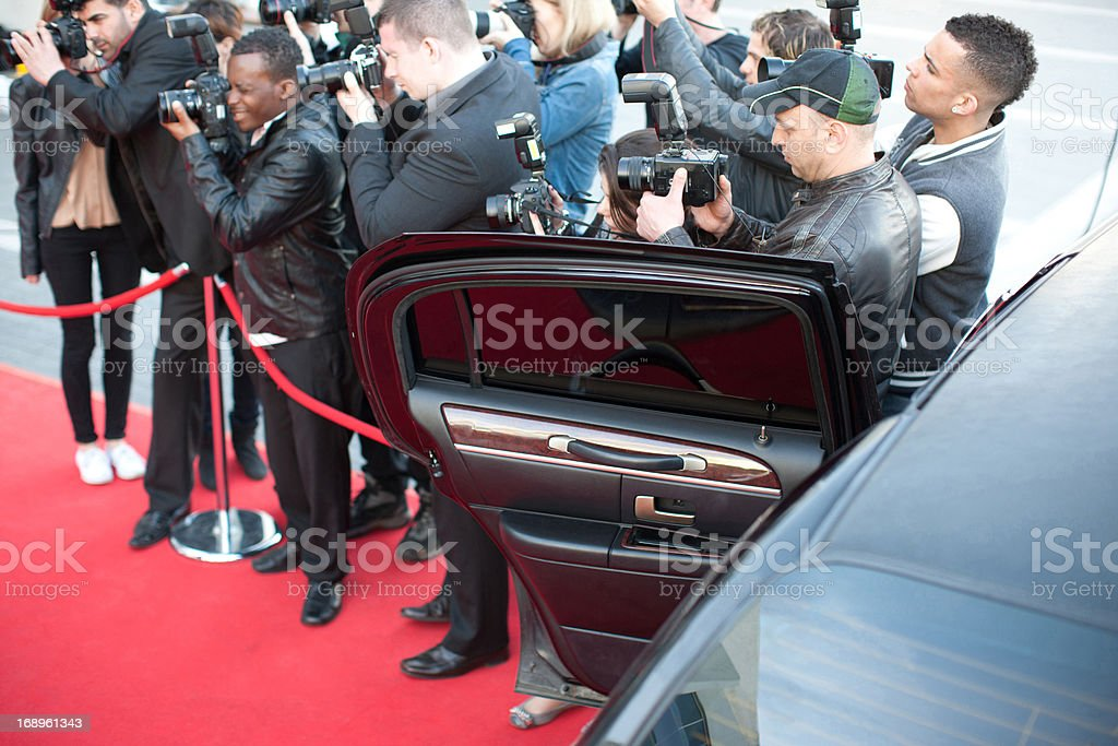 Paparazzi on red carpet royalty-free stock photo