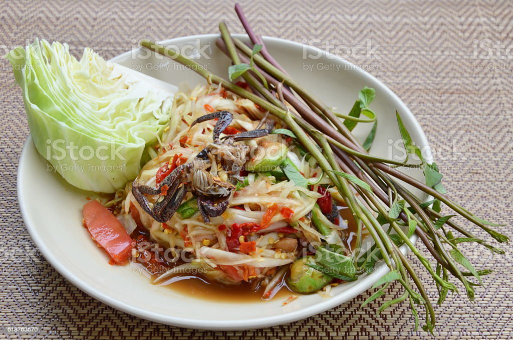 papaya and pickled crab salad Thai food called Som Tum stock photo