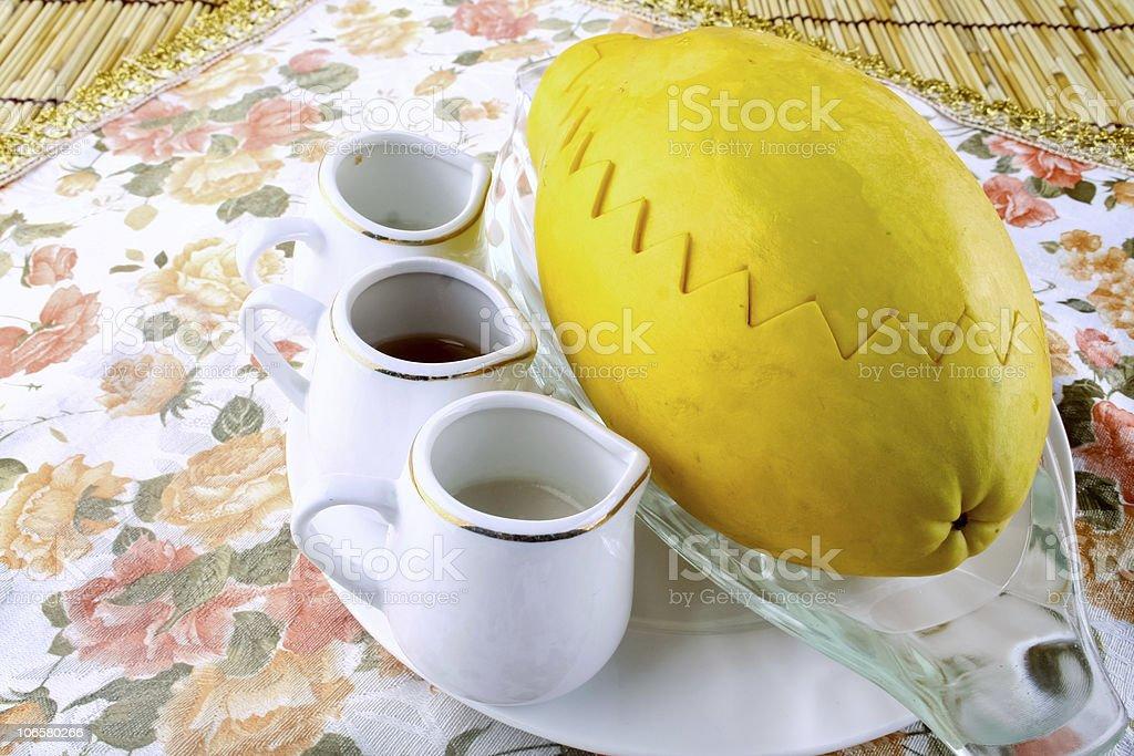 papaya and snow clam stock photo