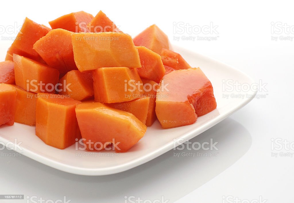Papaya chunks. royalty-free stock photo