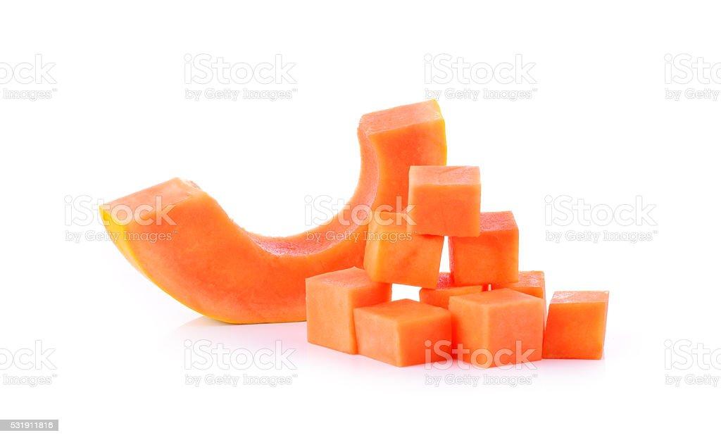 Papaya fruit on white background stock photo