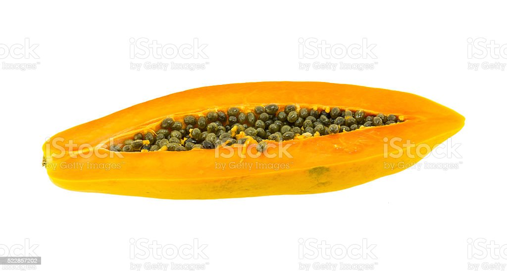 papaya fuit cut in half isolated on white backgound stock photo