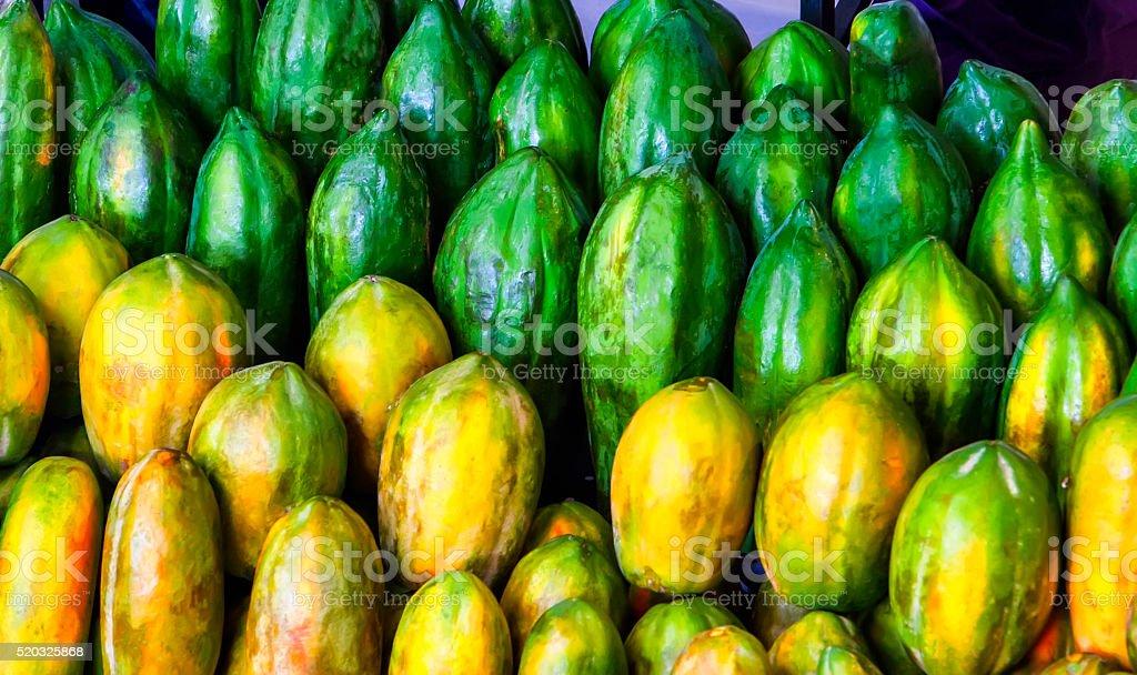 Papaya in the marketplace stock photo