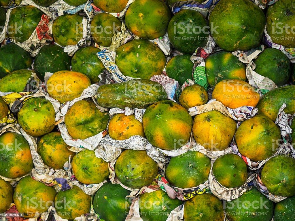 Papaya  on market in Kandy, Sri Lanka. stock photo