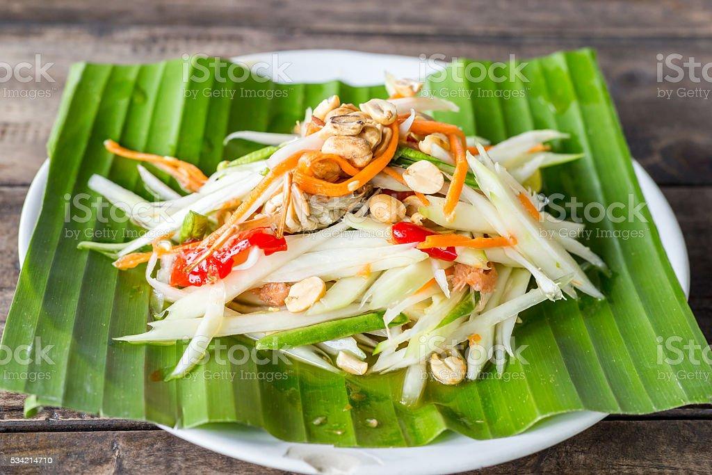 papaya salad and thai food stock photo