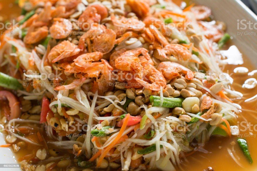 Papaya salad ingredient, a famous menu in Laos and Thailand stock photo