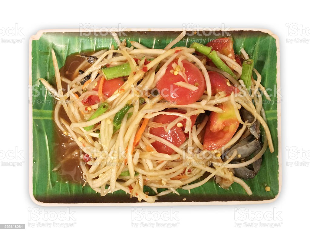 Papaya salad on white dish. stock photo