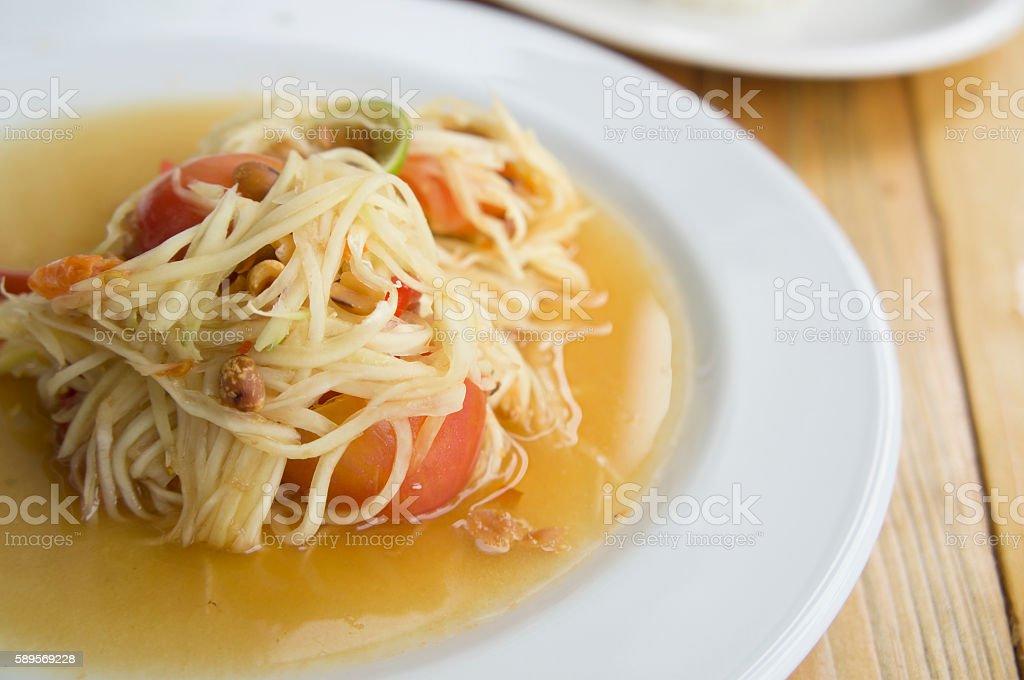 papaya salad somtum thai asian cuisine vegetable stock photo