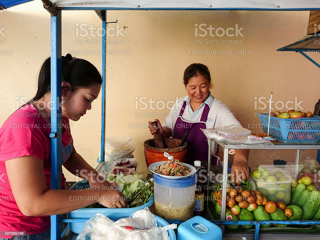 Papaya Salad Thai food vendor at the famous Worarot Market. stock photo
