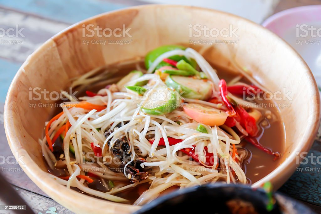 Papaya Salad the bowl stock photo