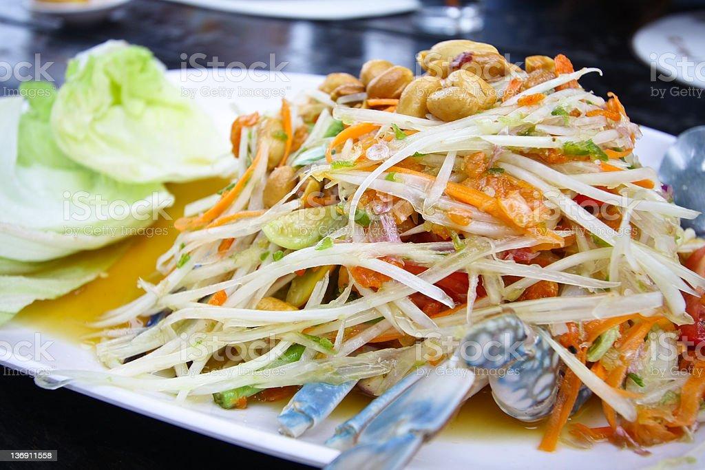 papaya salad with horse crab stock photo