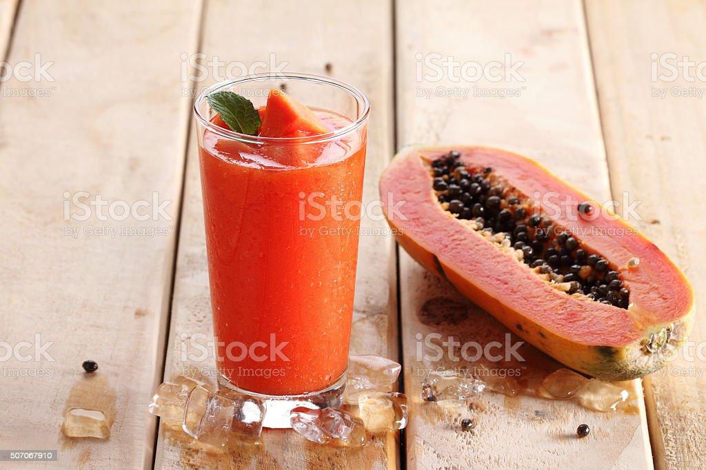 papaya smoothie stock photo