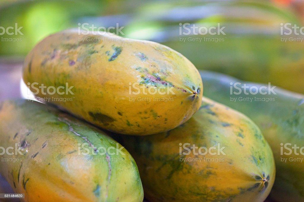 Papayas for sale stock photo