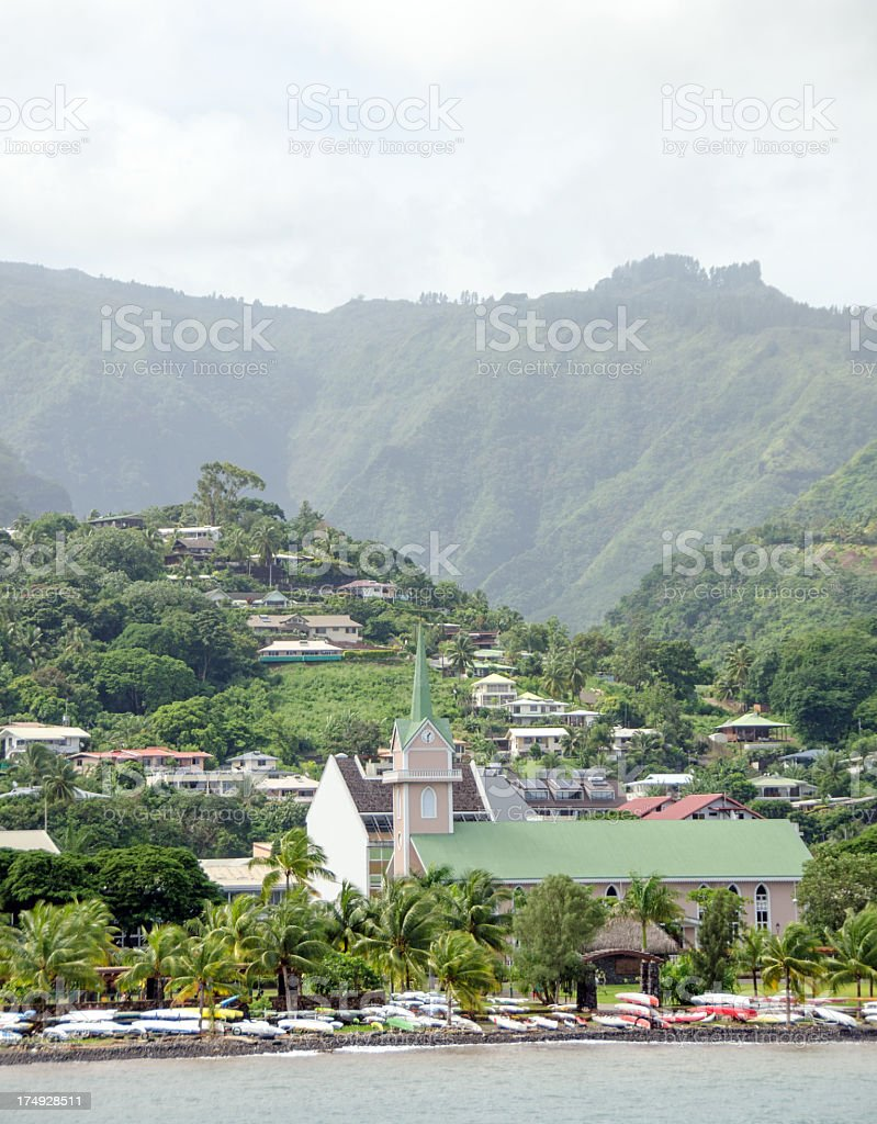 Papeete Church and Mountain stock photo