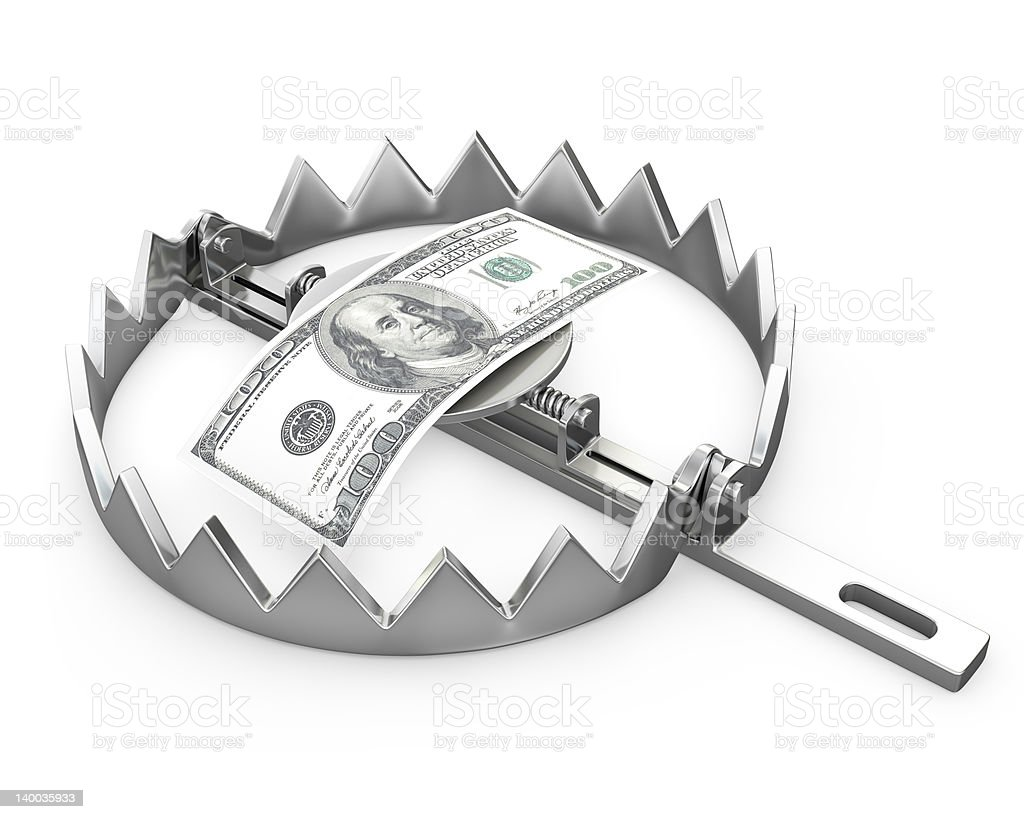 Paper 100 dollars in a bear trap stock photo