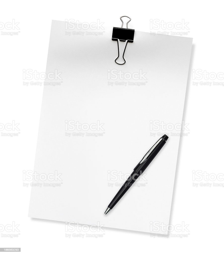 paper A4 with pen isolated on white background royalty-free stock photo