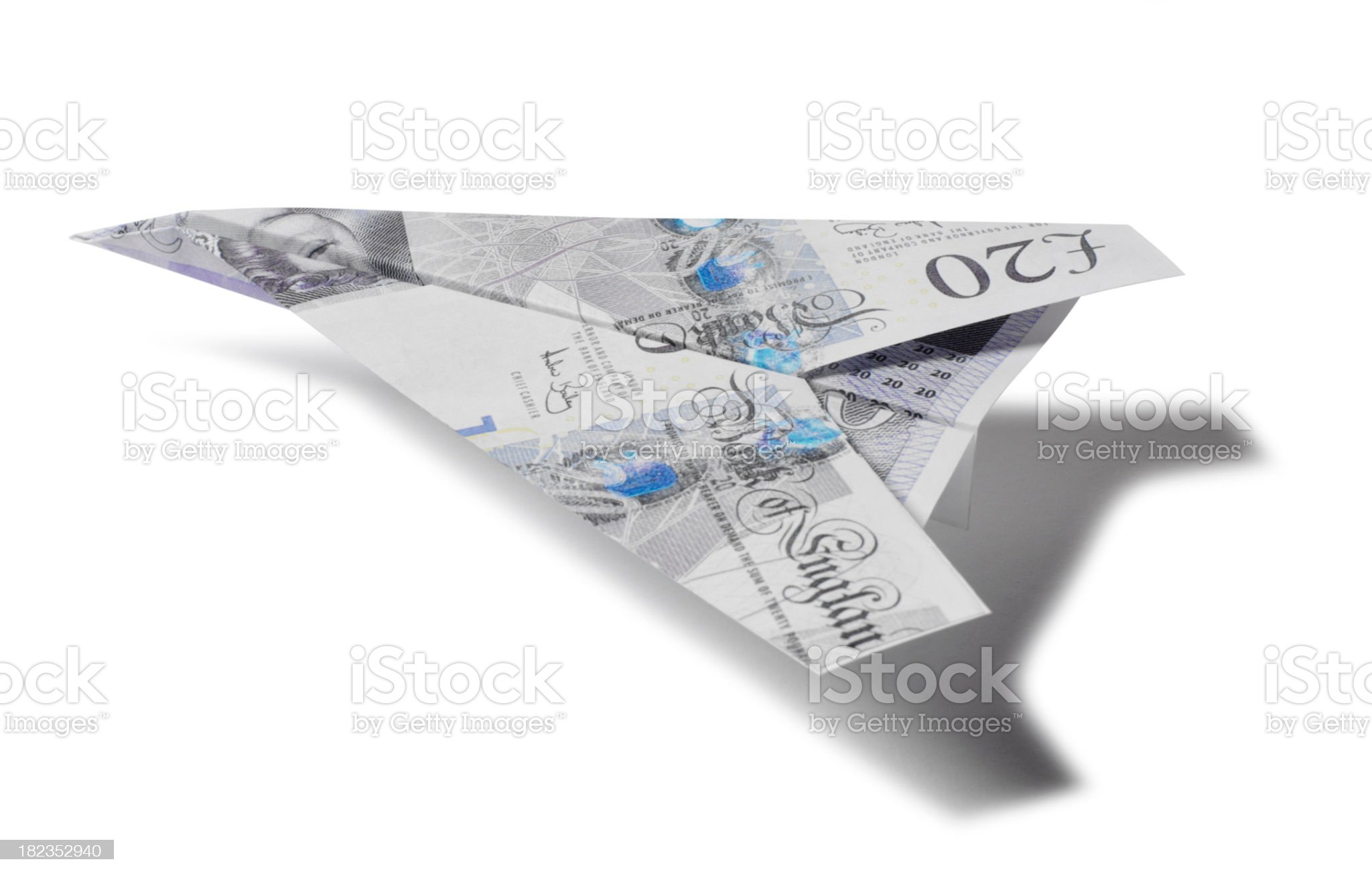 Paper Aircraft made of Pounds royalty-free stock photo