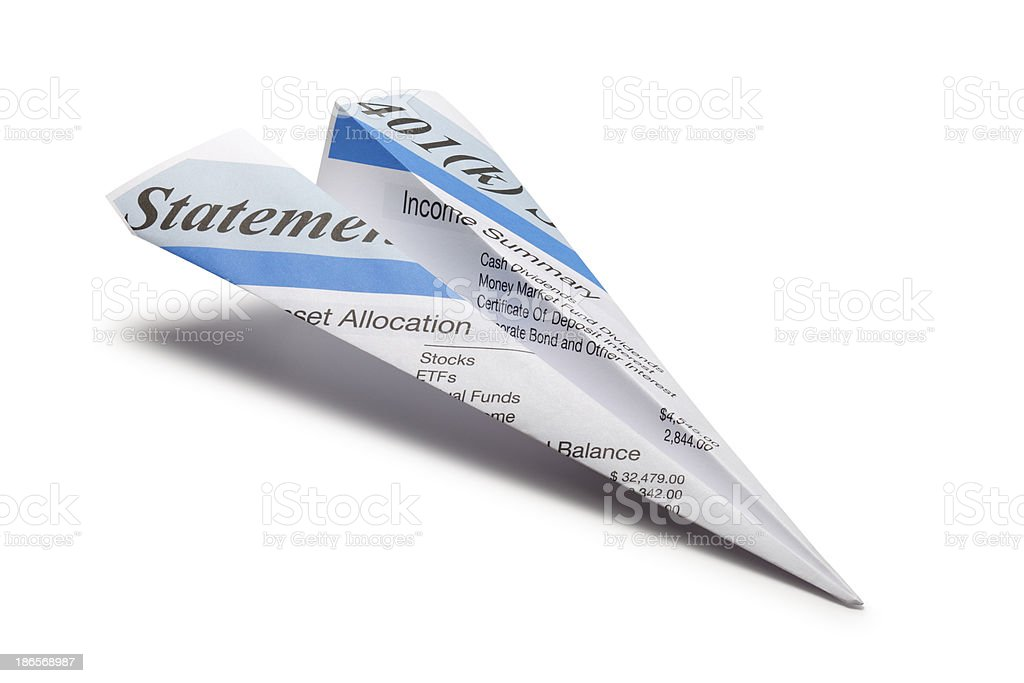 Paper airplane made form 401(k) statement stock photo