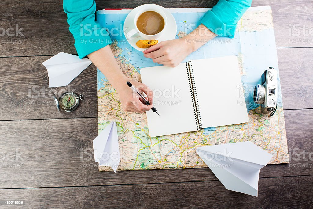 Paper airplanes travel dreams stock photo