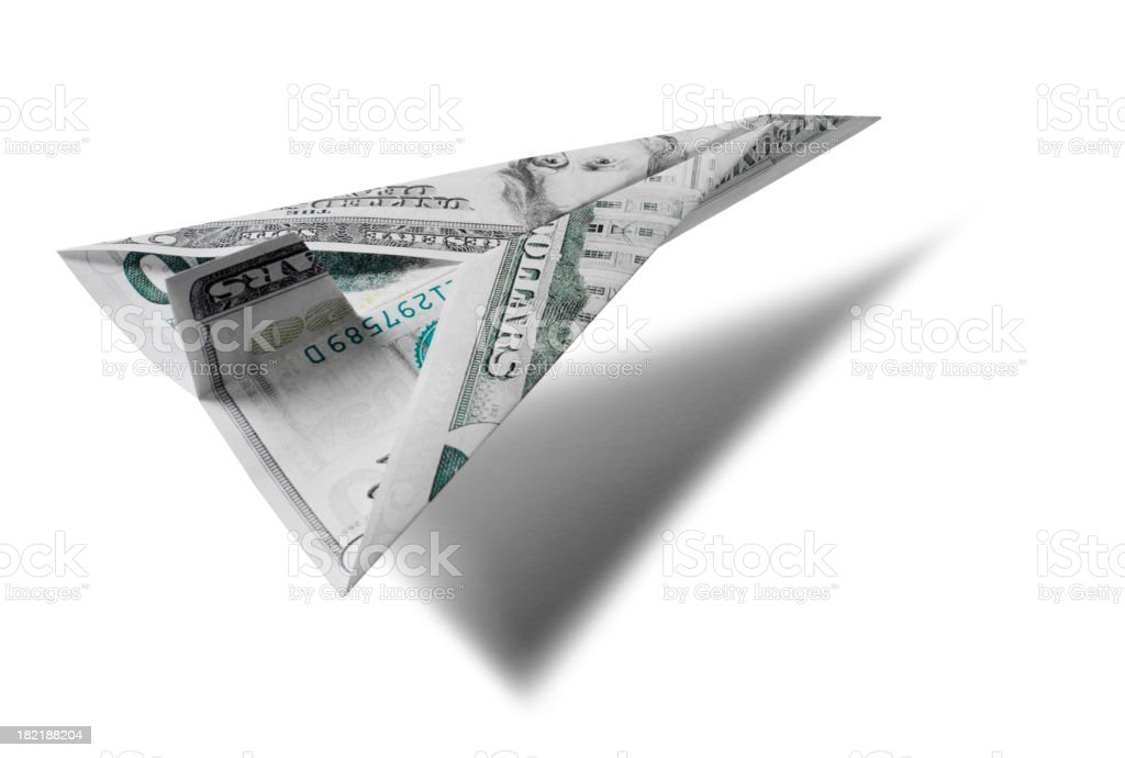 Paper American Dollar Aircraft royalty-free stock photo