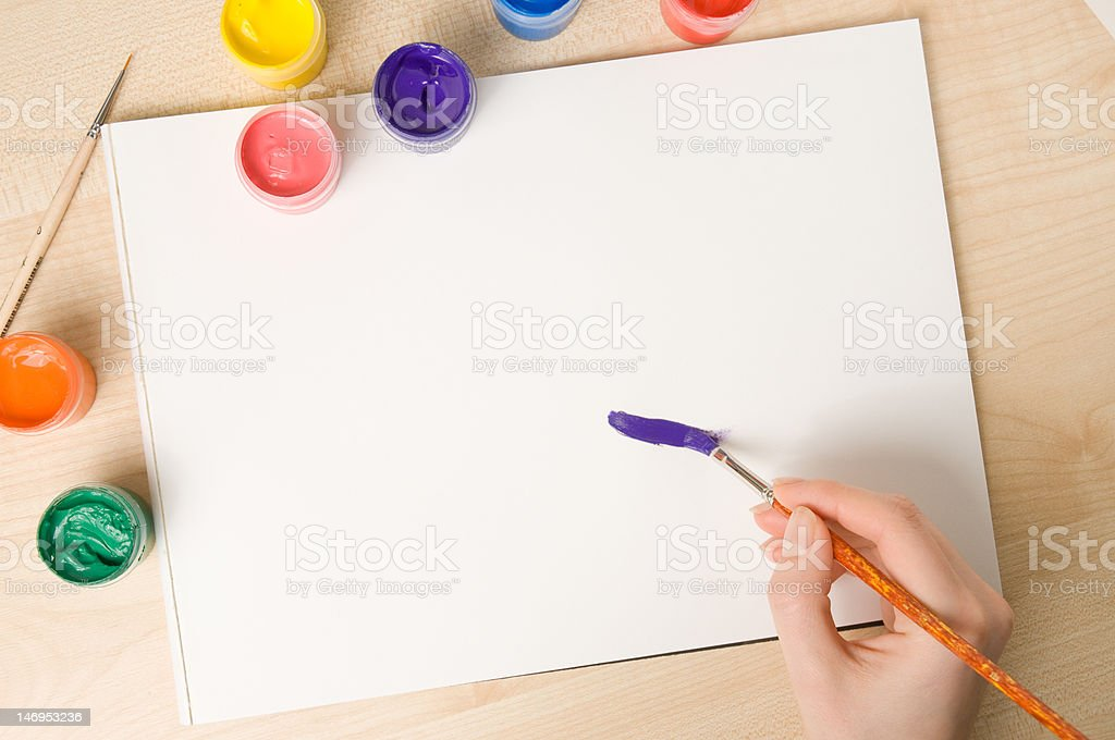Paper and paint buckets royalty-free stock photo