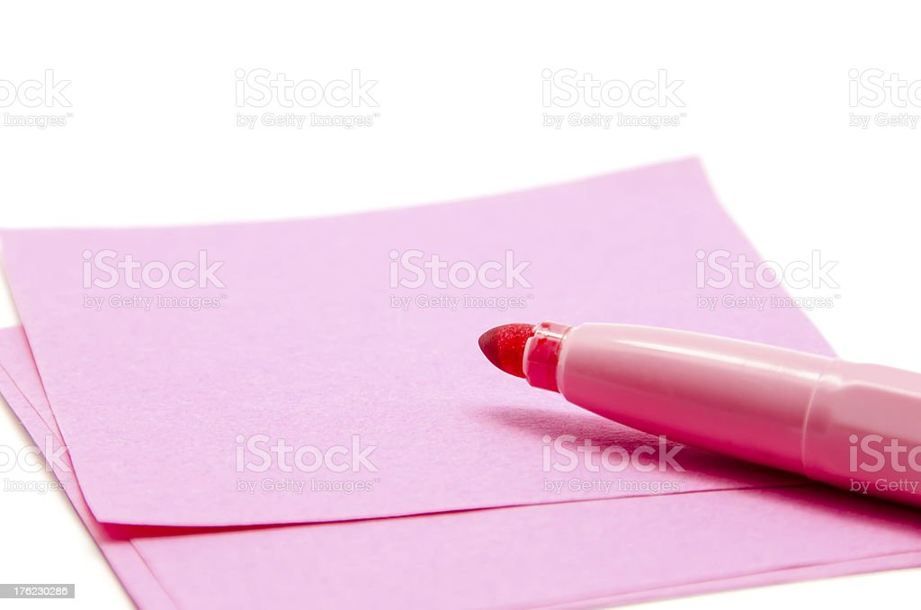 Paper and pen pink royalty-free stock photo
