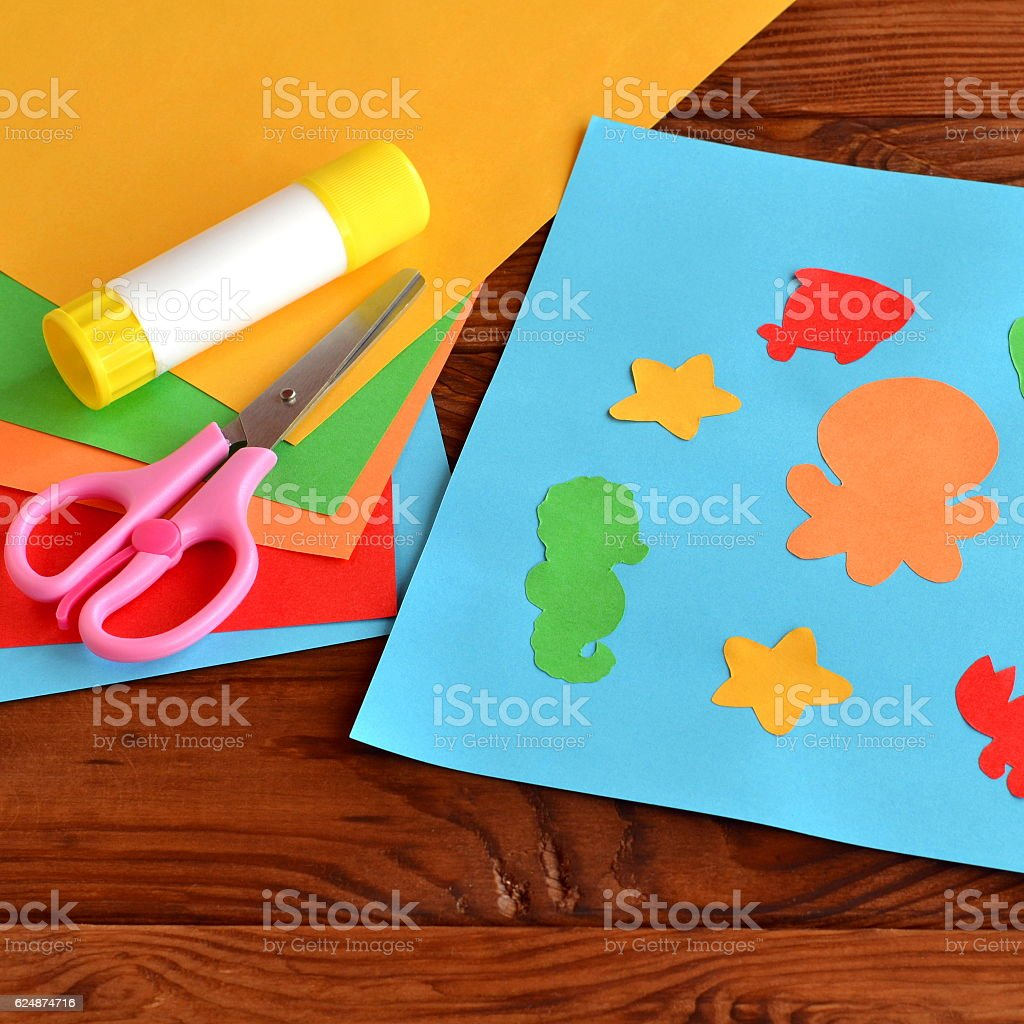 Paper applique with sea animals and fishes stock photo