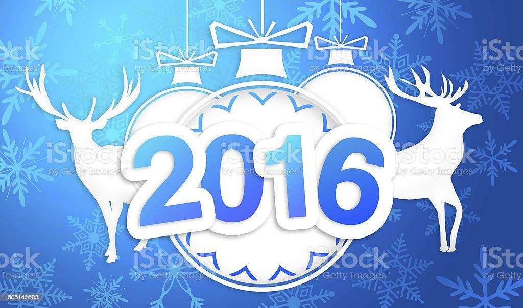 Paper Art 2016 Ornament Decorative Blue Background stock photo