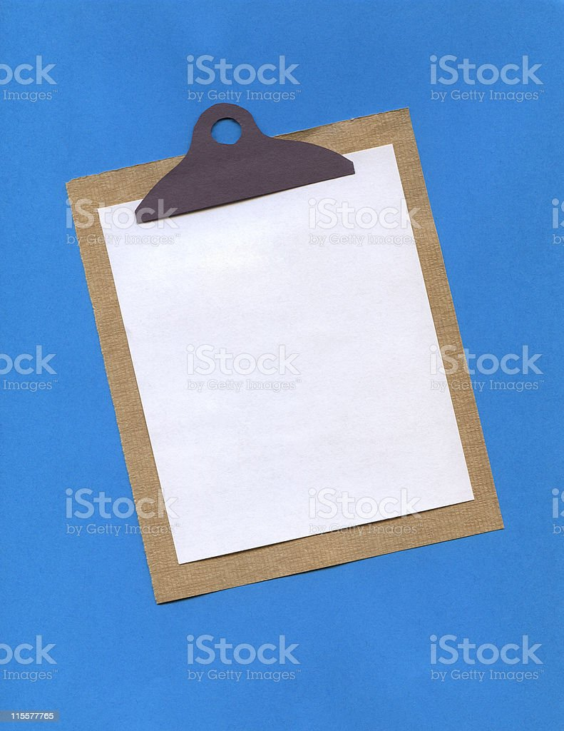Paper Art -Clipboard on Blue stock photo