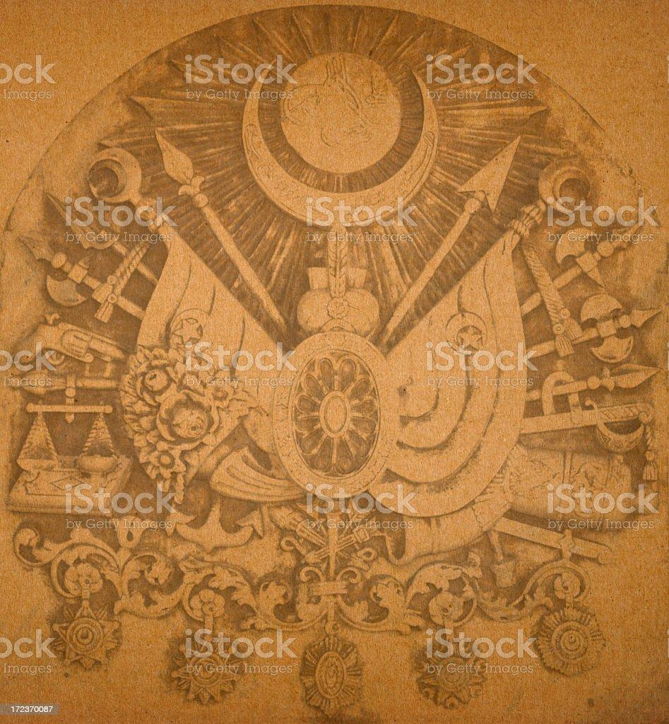 Paper Background Ottoman Empire Emblem royalty-free stock photo