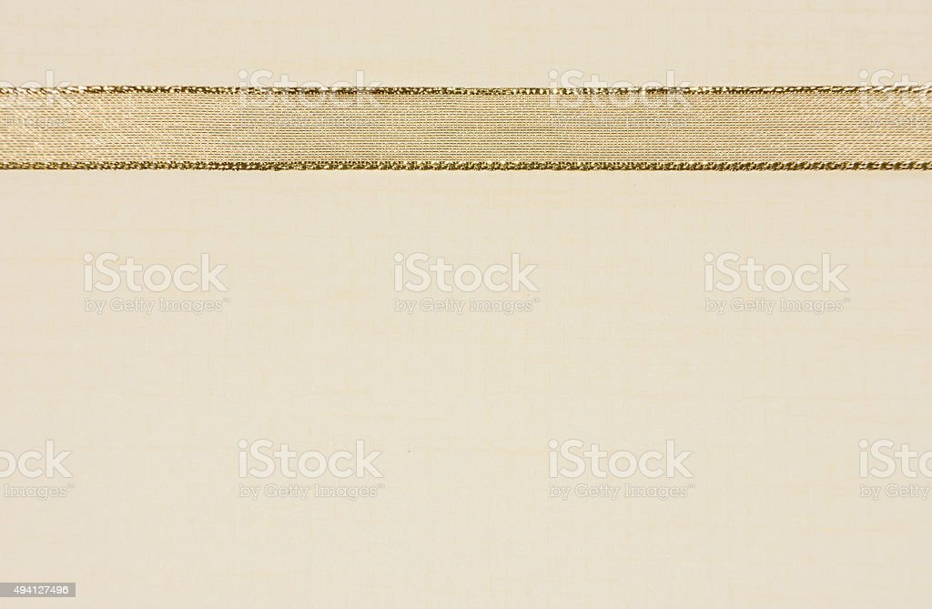 Paper Background with Gold Ribbon Border stock photo