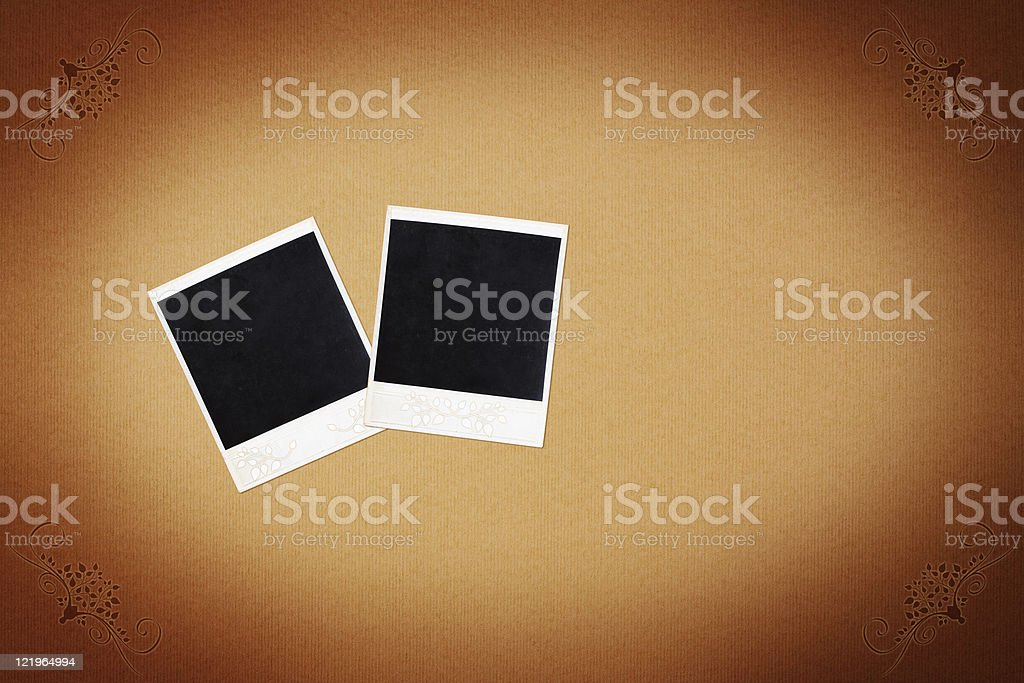 Paper background with photo frame stock photo