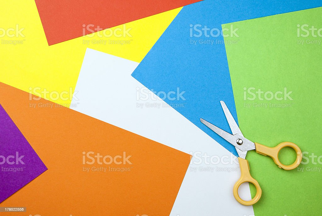 Paper background with scissors royalty-free stock photo