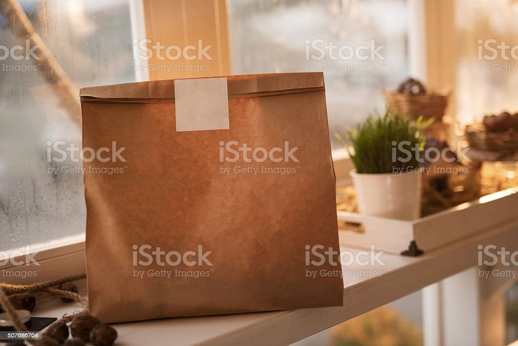 Paper bag for take out food. Copy space. stock photo