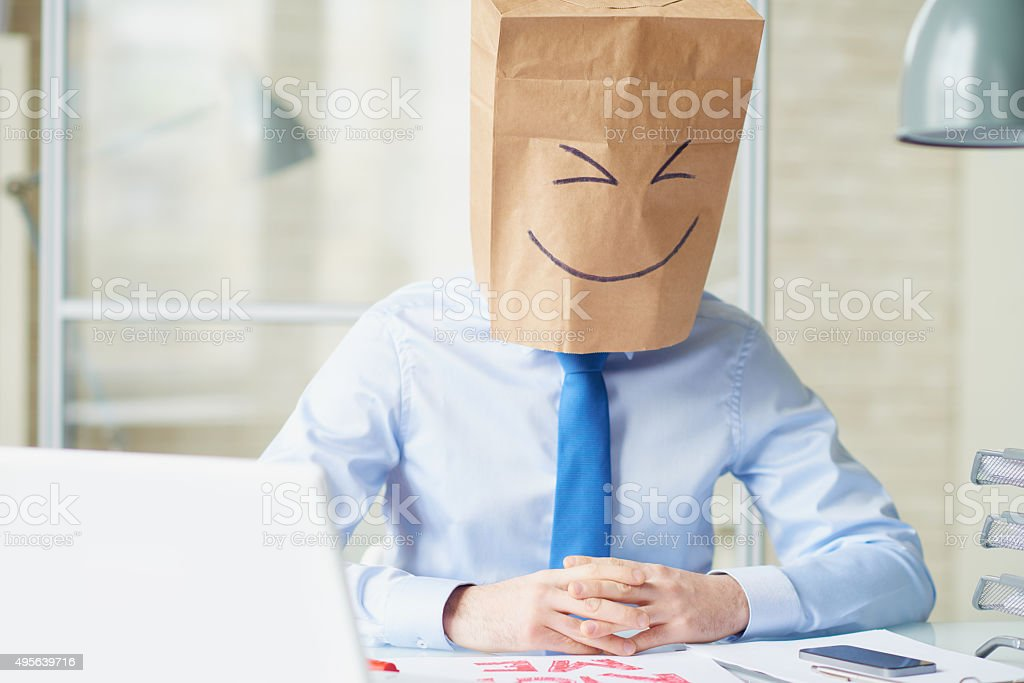 Paper bag head stock photo