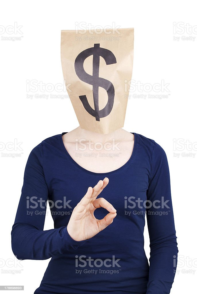 paper bag head with dollar sign stock photo