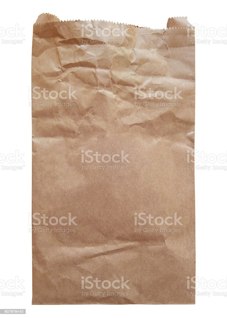 Paper Bag isolated - brown stock photo