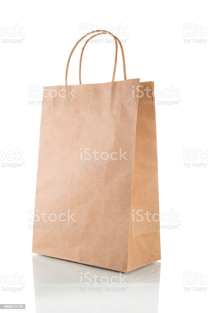 Paper bag isolated on a white background with clipping path stock photo