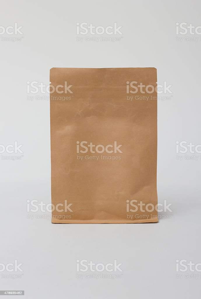 Paper bag isolated on white background. stock photo