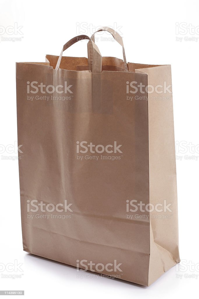 paper bag, over white royalty-free stock photo