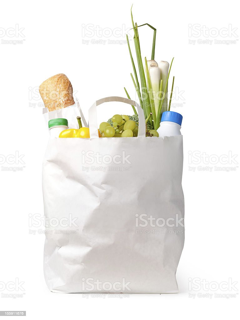 Paper bag with food royalty-free stock photo