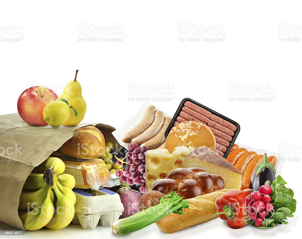 Paper Bag With Food stock photo