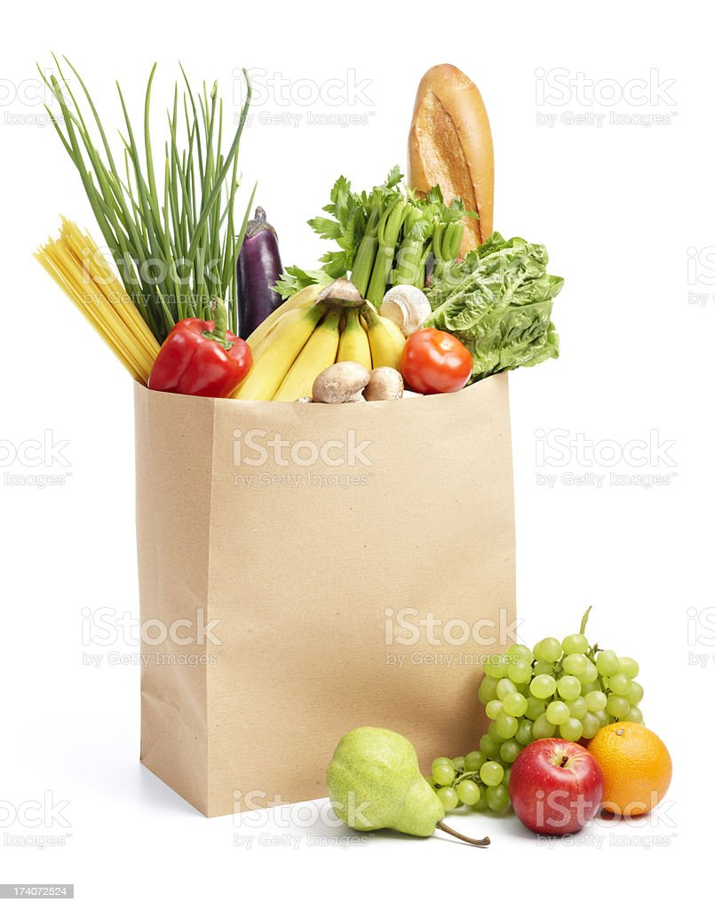 paper bag with groceries stock photo